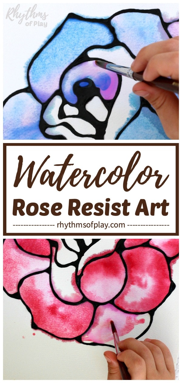 blue rose art and red rose art - watercolor roses