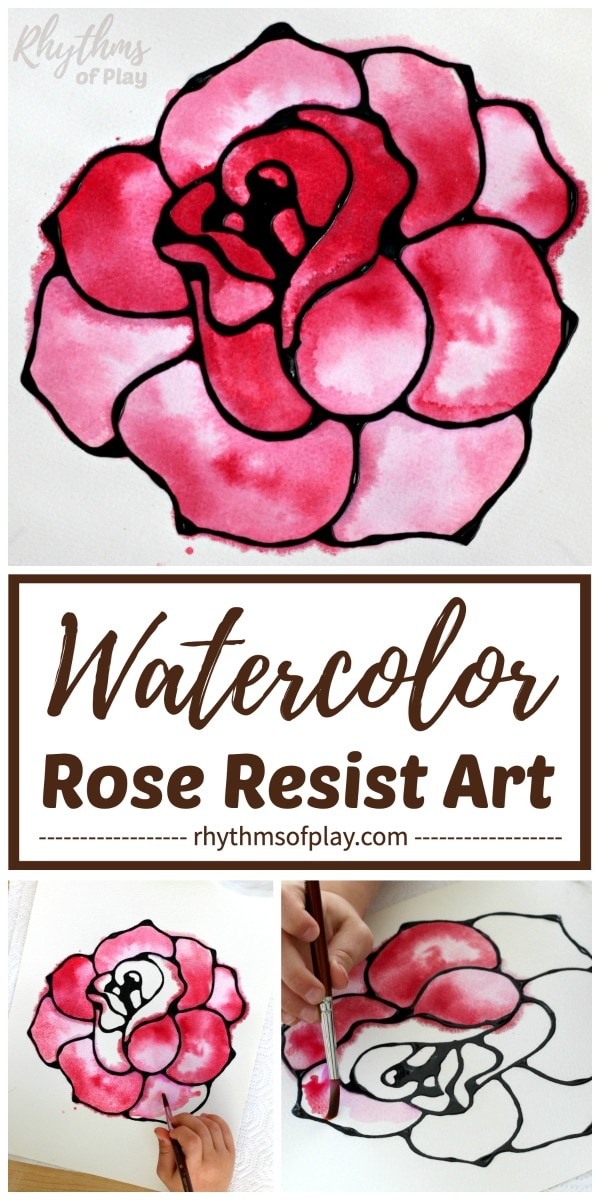 red watercolor rose art project for kids and adults