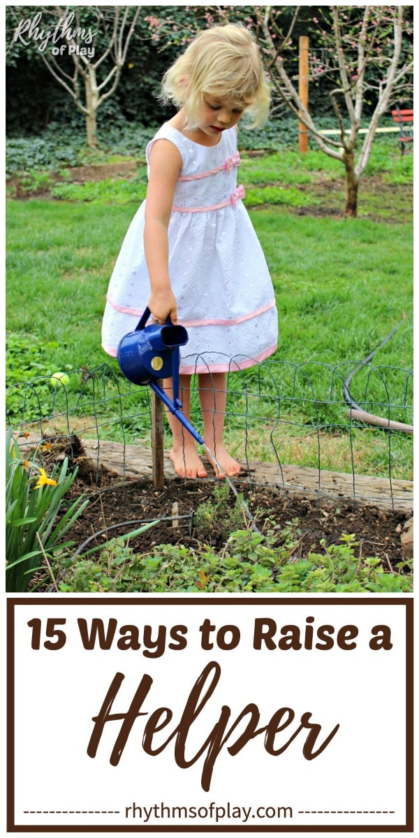 chores for kids - child watering garden helping with the chores