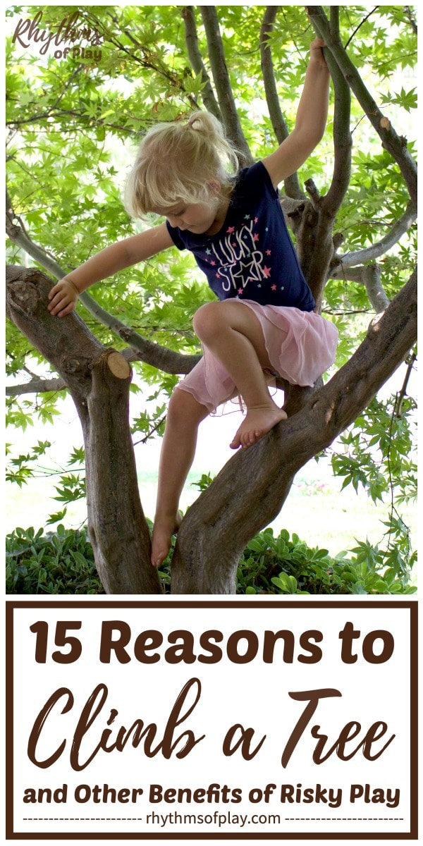 small child climbing a tree in a tutu - risky play for kids