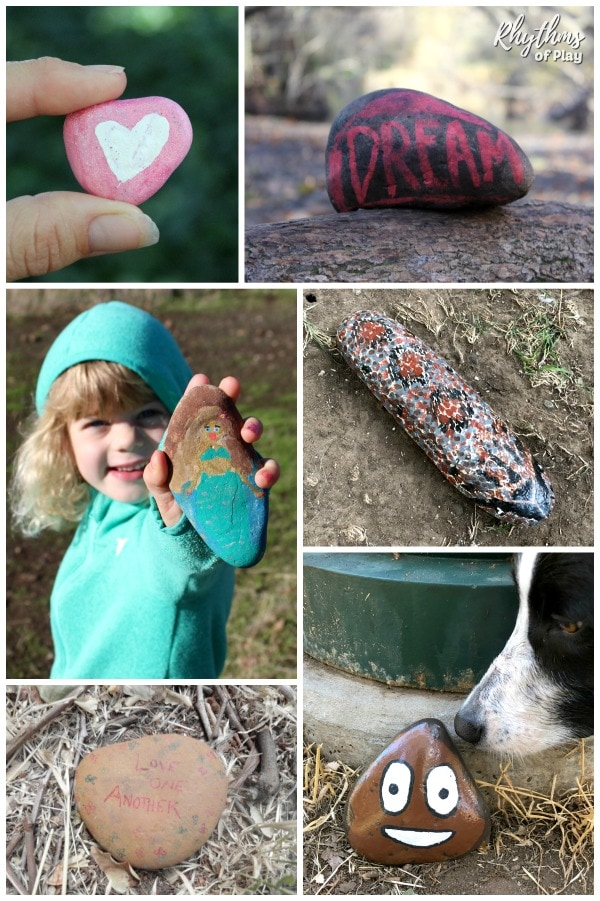"Painted rocks that ""Rhythms of Play"" found in nature"
