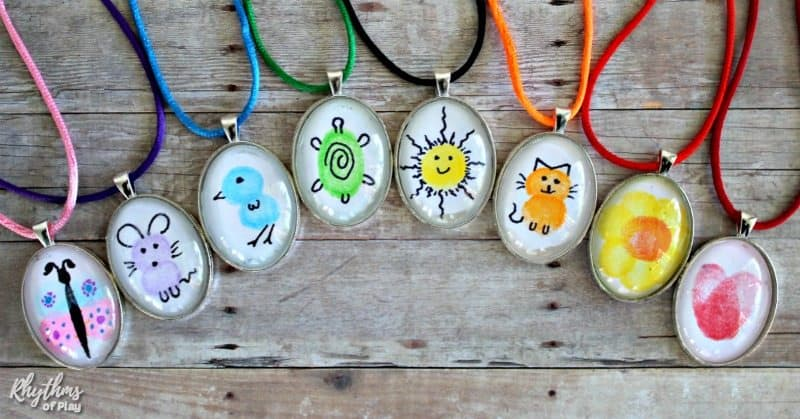 Rainbow of fingerprint art necklaces children can make for parents and grandparents