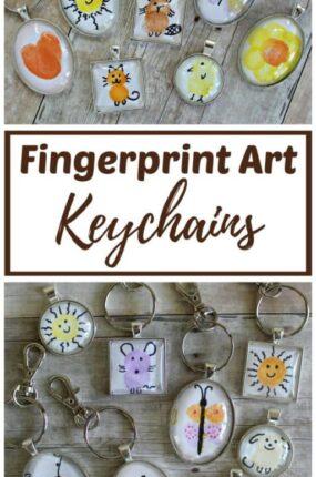 DIY fingerprint art keychains