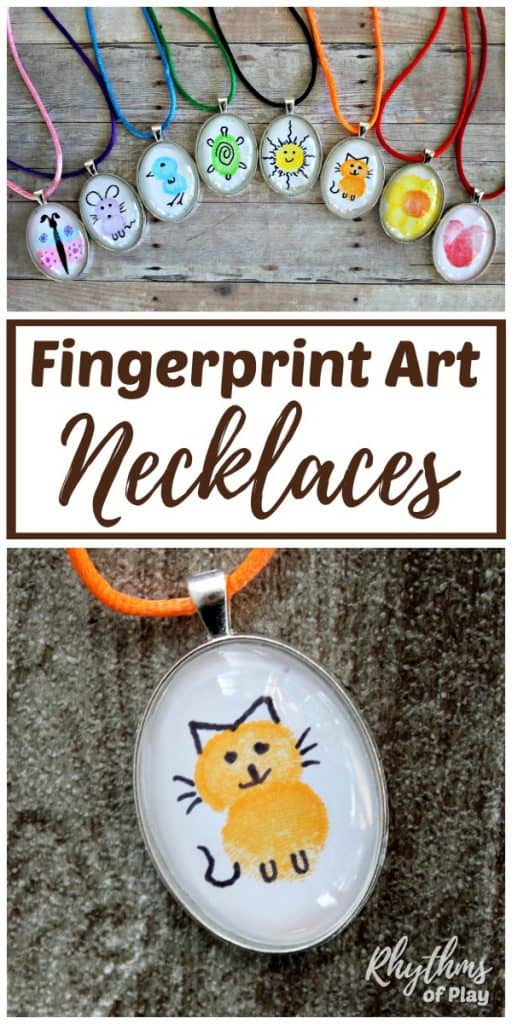 Cat fingerprint art necklace penant