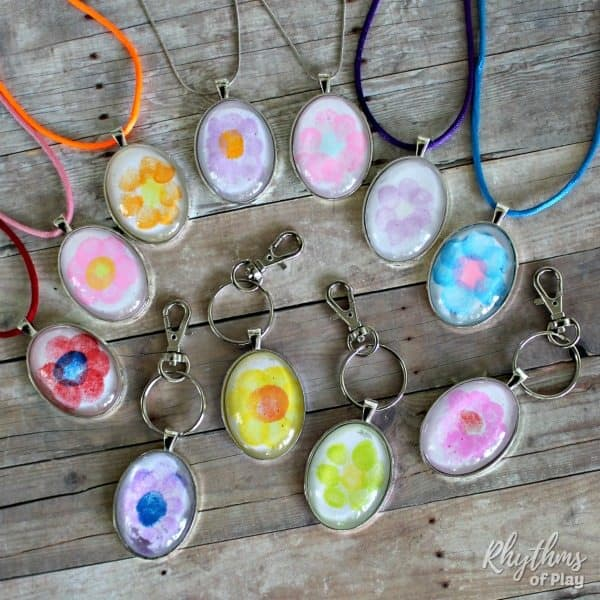 easy fingerprint flower keychain and necklace pendants