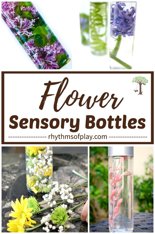 nature sensory bottles filled with flowers