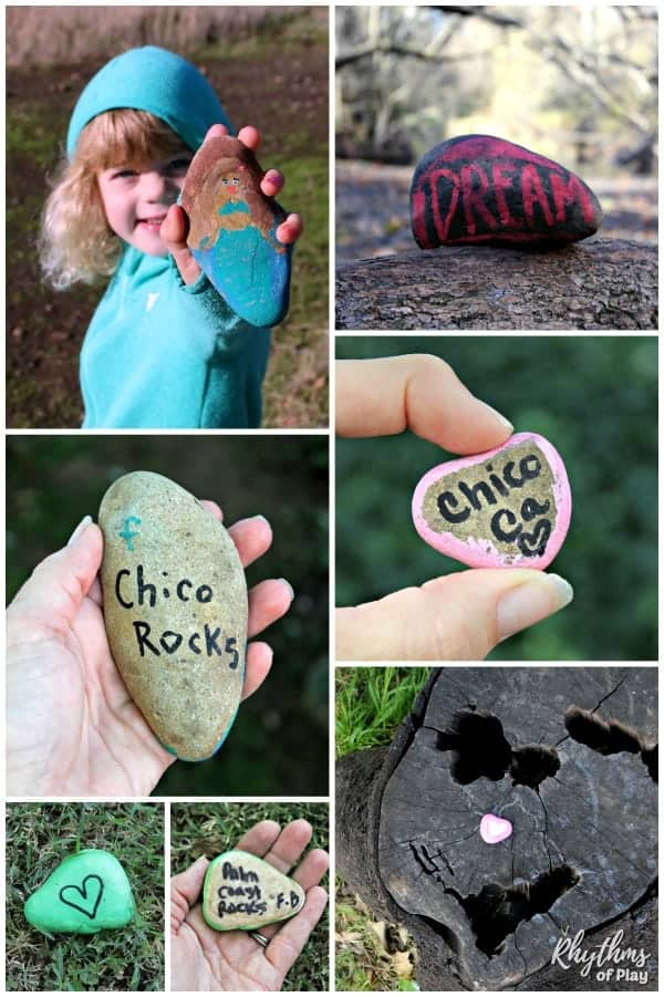 Painted rocks found in nature