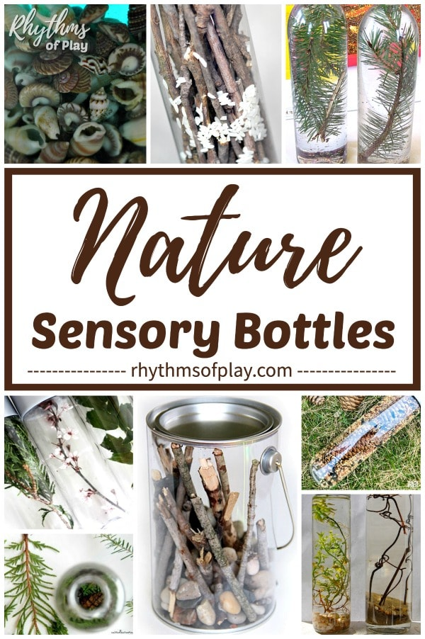 nature DIY sensory bottles made with items found in nature.