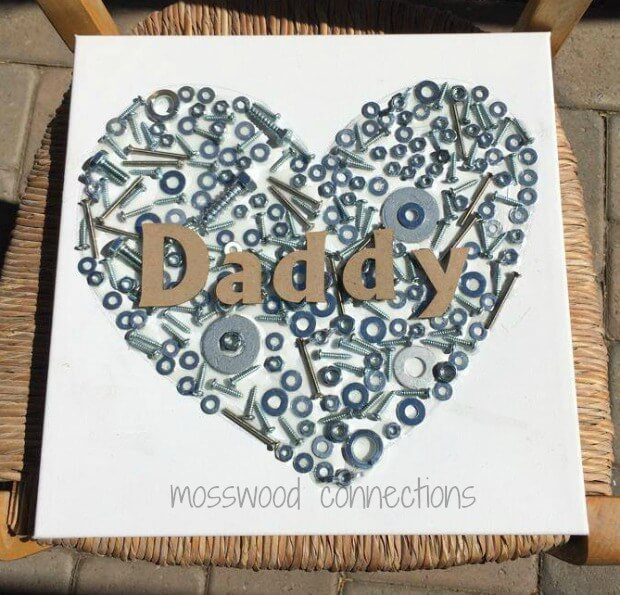 """Daddy"" craft made with nuts and bolts - nuts for daddy"