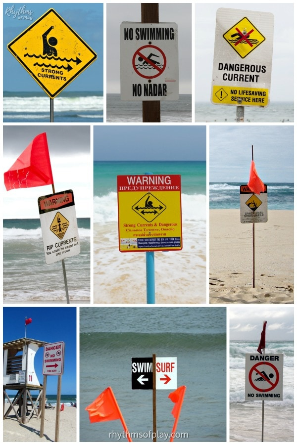 beach and water safety tips - pay attention to beach flags and signs and learn what they mean
