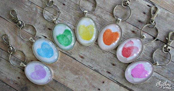 thumbprint heart keychain charms