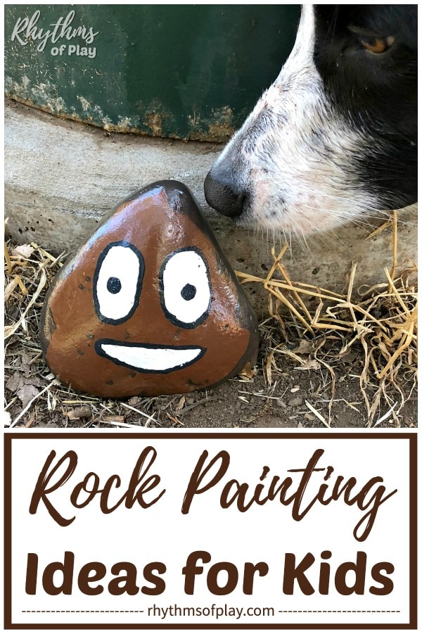poop emoji painted rocks - rock painting ideas
