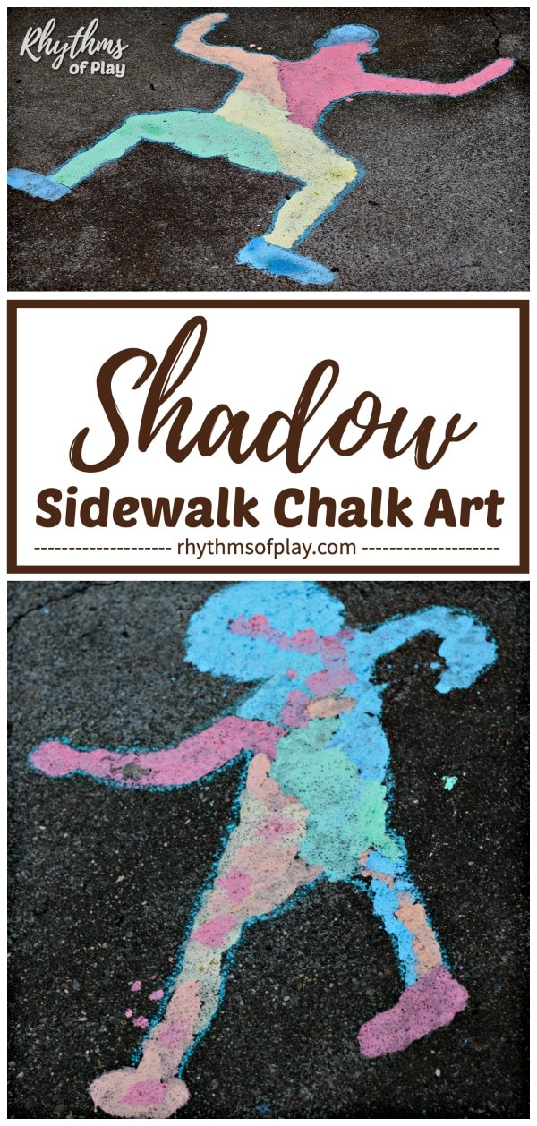 shadow sidewalk chalk art project