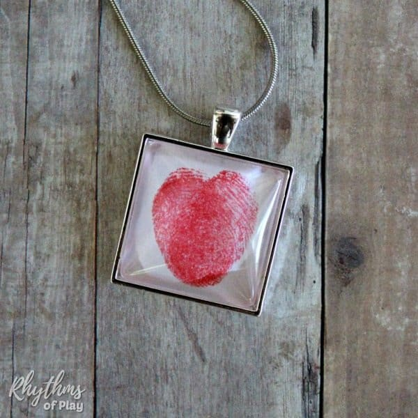Red thumbprint heart square necklace pendant
