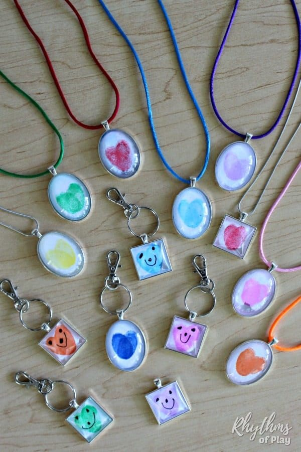 thumbprint heart keychain and necklace pendants