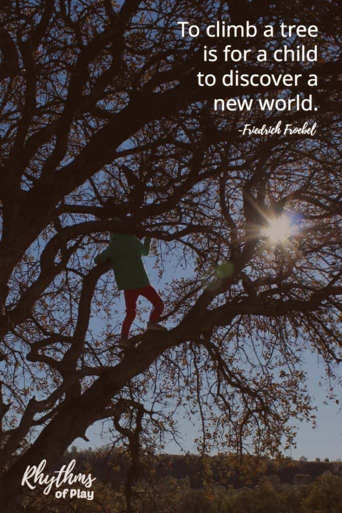 """To climb a tree is for a child to discover a new world."""
