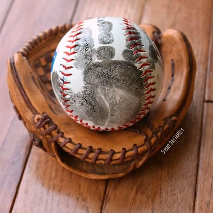 Handprint Baseball homemade gift for dad