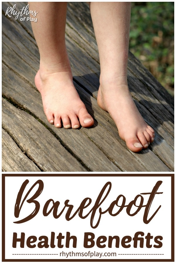 barefoot benefits - picture of child walking barefoot outside on a fallen tree