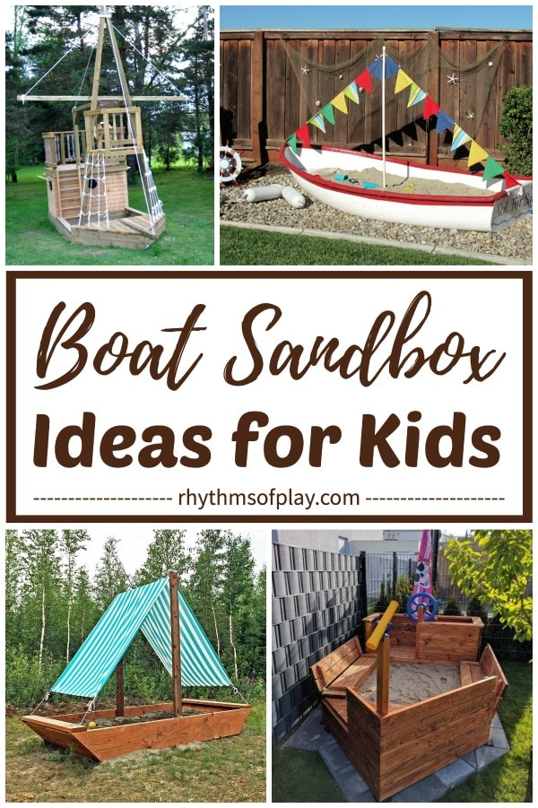 boat sandbox ideas for kids - use an old wooden boat, or built a sandbox boat!