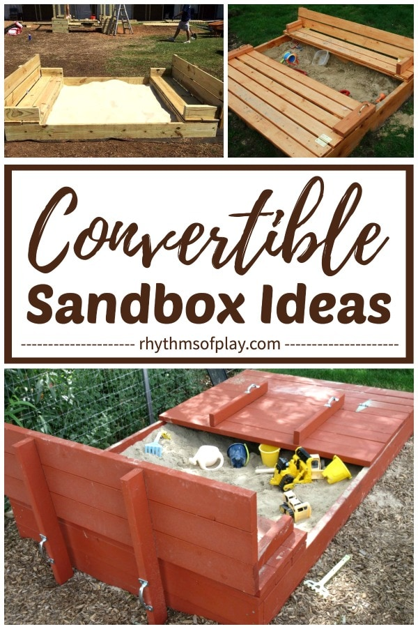 covered convertible sandbox ideas with bench seats