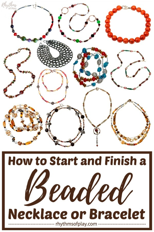 how to start and finish a beaded necklace or bracelet beginning jewelry making tutorials for kids and adults