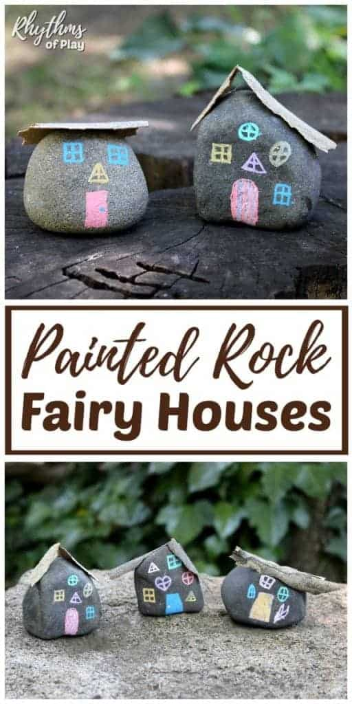 DIY fairy house made out of painted rocks - cutest fairy garden houses ever!