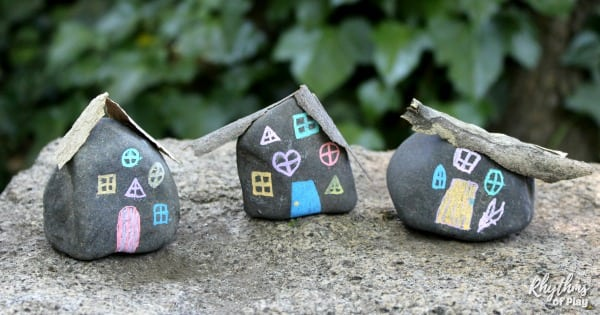 DIY fairy house painted rocks - fairy house craft for kids and adults