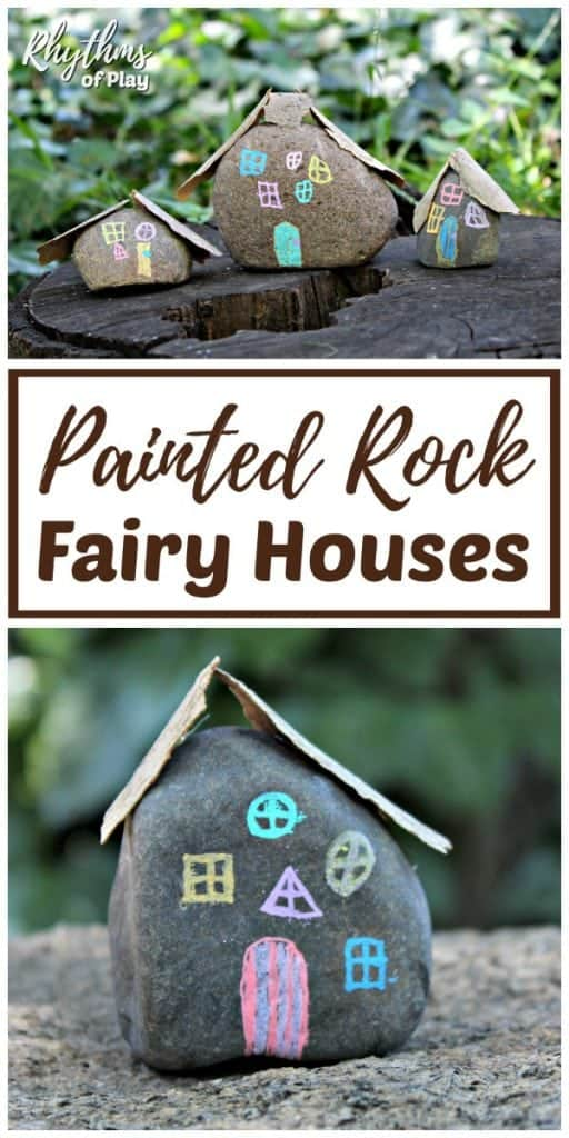 DIY fairy house rock painting idea - fairy garden houses in the yard