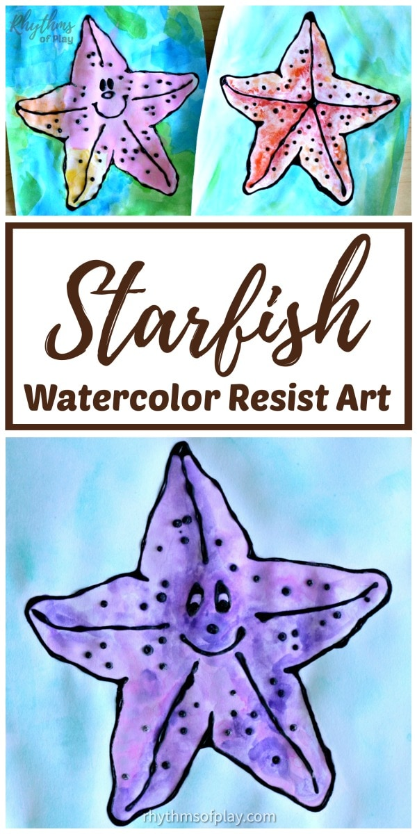 watercolor starfish art project for kids with free printable starfish art template