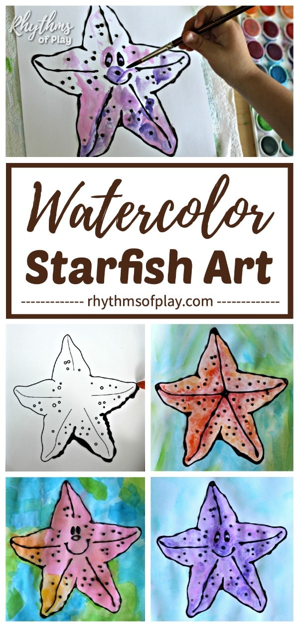 starfish watercolor art with free starfish art template