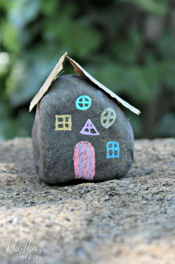 DIY fairy house painted rocks - fairy house craft for kids and adults and DIY fairy garden accessory