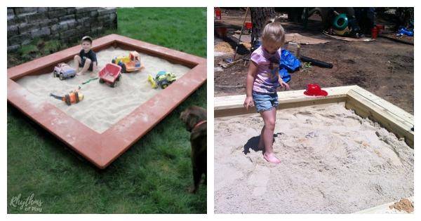 sandbox DIY for kids with surrounding seats