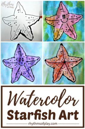 watercolor starfish art with free printable starfish art template
