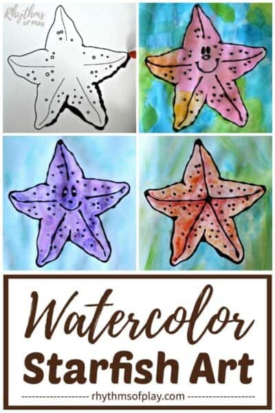 watercolor starfish art with free printable starfish art template