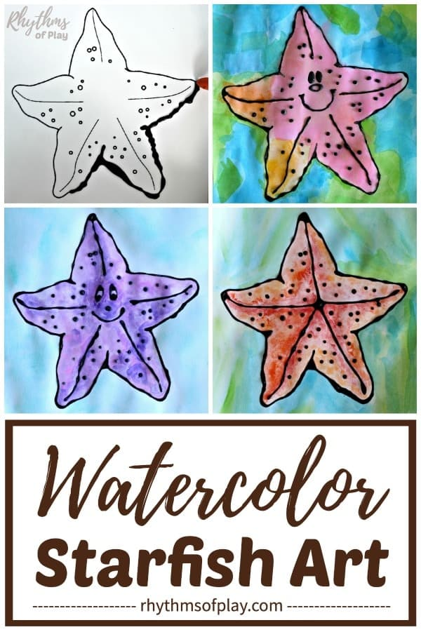 watercolor starfish art with free printable art template