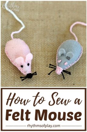 how to make a felt mouse plush toy DIY sewing project