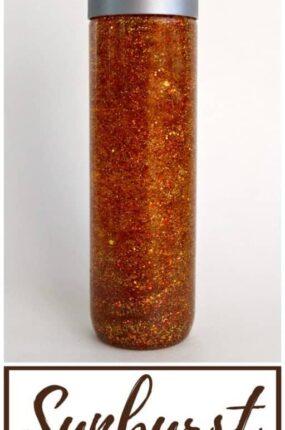 How to make a glitter sensory bottle for kids.