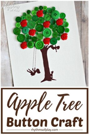 apple tree craft - button art tree