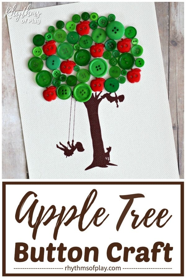 apple tree craft - button art tree