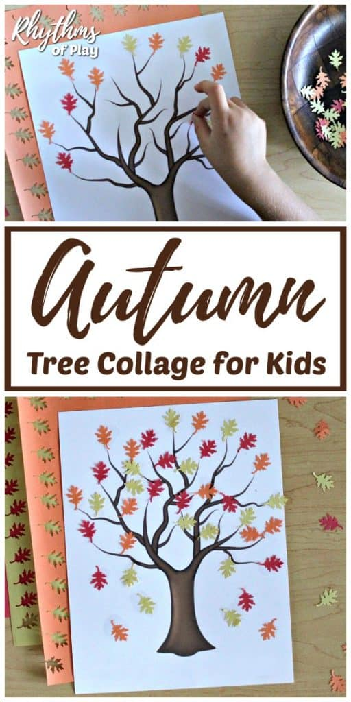 fall leaf collage - fall tree craft made with construction paper fall leaves