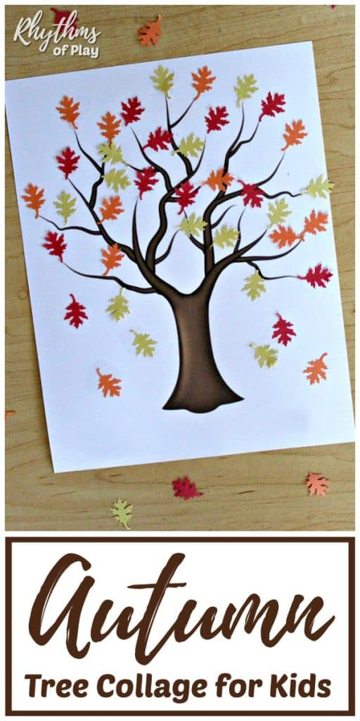 Autumn tree collage for kids - fall craft idea