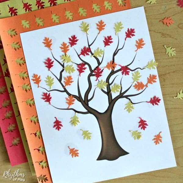 fall tree craft - fall leaf collage art project for kids