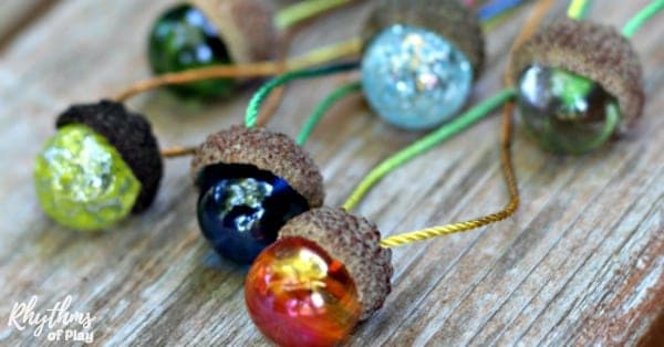 Homemade acorn marble necklaces nature craft and gift idea