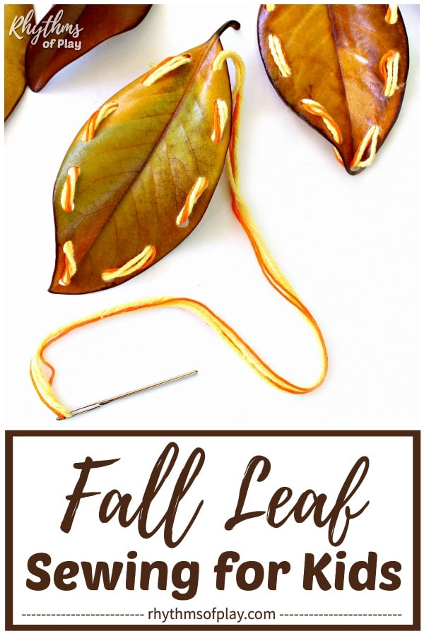 fall leaf sewing - make lacing cards with leaves