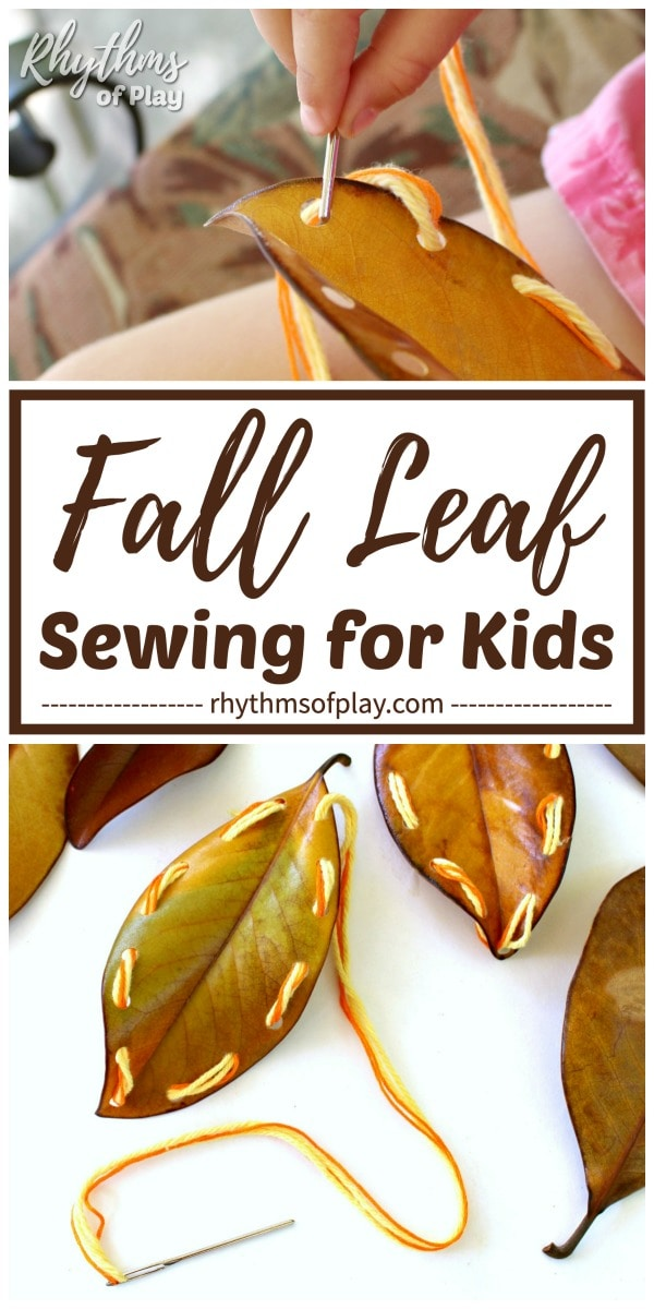 fall leaf sewing - turn leaves into homemade lacing cards with this easy DIY