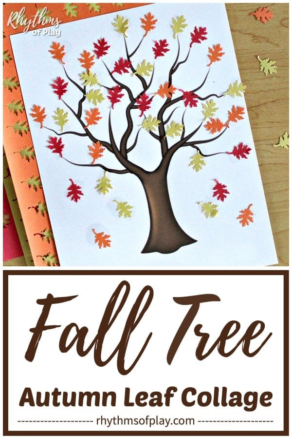 fall tree craft made with construction paper fall leaves