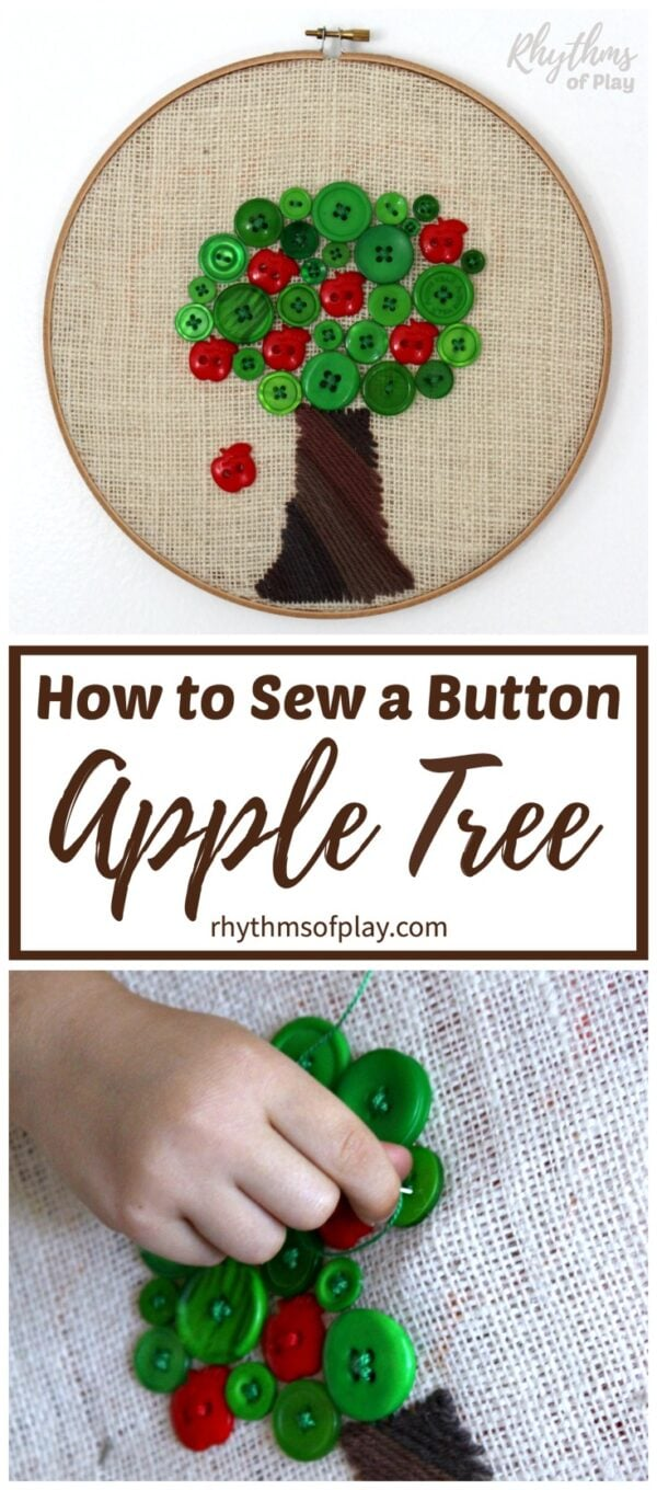apple tree sewing project - how to sew a button