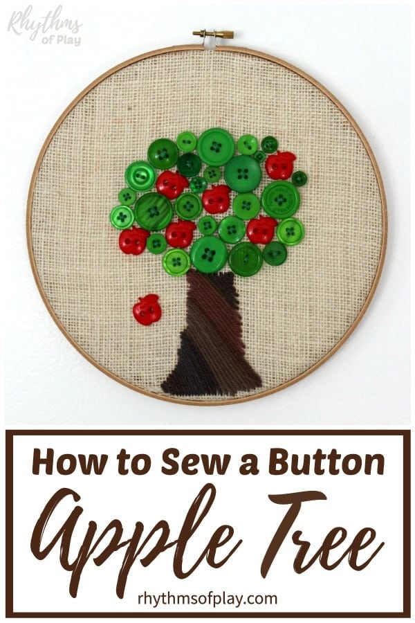 how to sew a button - apple tree sewing project