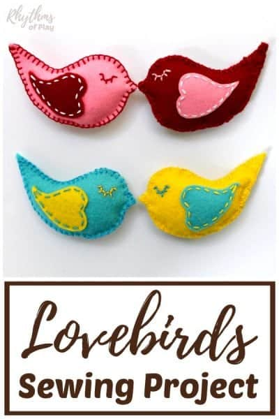 Lovebirds Felt Softie Beginning Sewing Project with Pattern