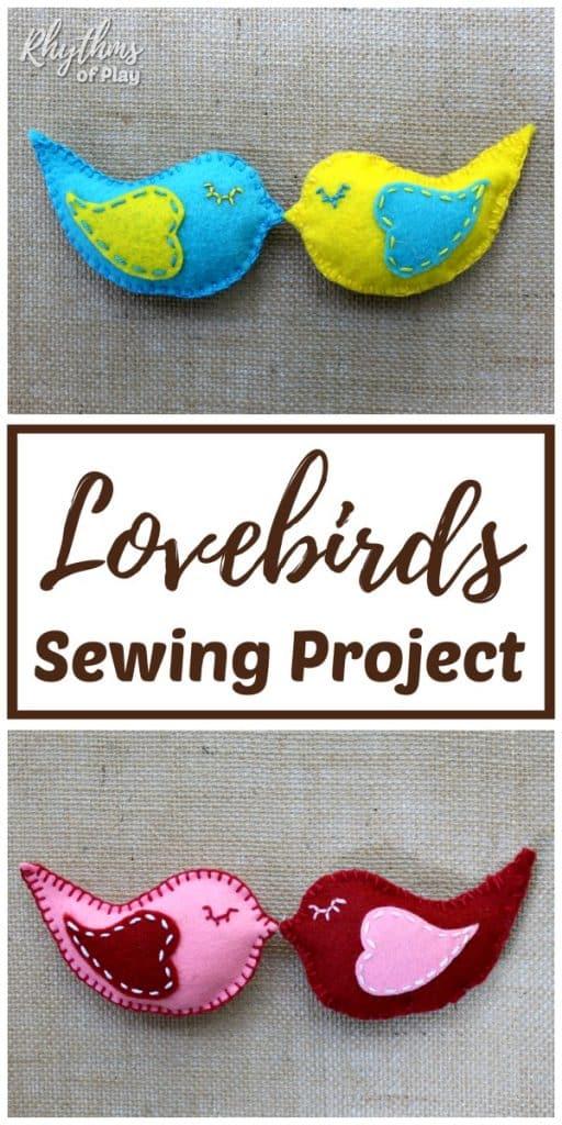 how to sew a lovebird felt softie beginning sewing pattern
